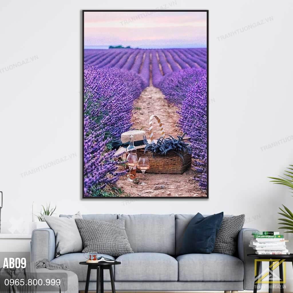 Tranh Đường Đến Cánh Đồng Lavender Ngọt Ngào - AB09 1