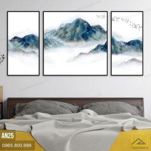 Tranh Bộ 3 Những Dãy Núi Hiên Ngang Trên Xương Mù - AD25 1