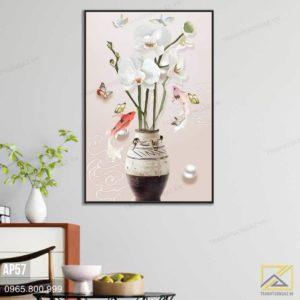 Tranh Bình Hoa Và Cá Nhẹ Nhàng - AP57 2