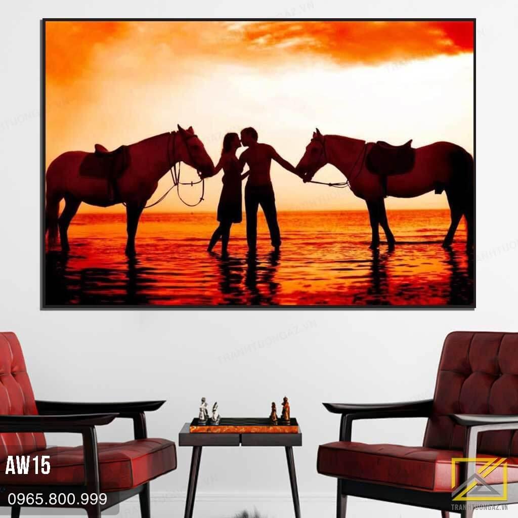 Tranh Đôi Ngựa Trong Ánh Hoàng Hôn Đỏ - AW15 3