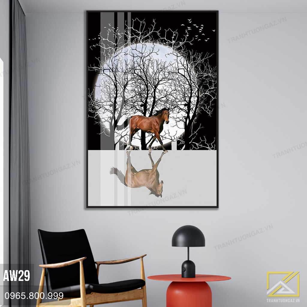 Tranh Chú Ngựa Hiên Ngang Trước Ánh Trăng - AW29 3