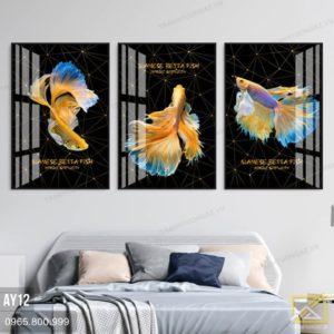 Tranh Bộ 3 Cá Vàng Nghệ Thuật AY12