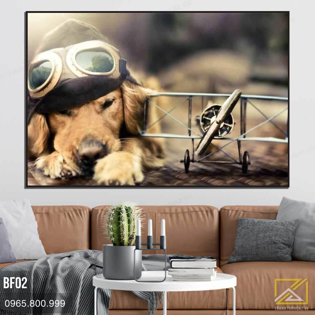 Tranh Chú Chó Đội Mũ Phượt - BF02 1