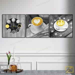 Tranh Bộ 3 Cafe Sữa Tạo Hình Đáng Yêu - BK20 1