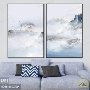 Tranh Bộ 2 Mây Trên Đỉnh Núi - AN81 2
