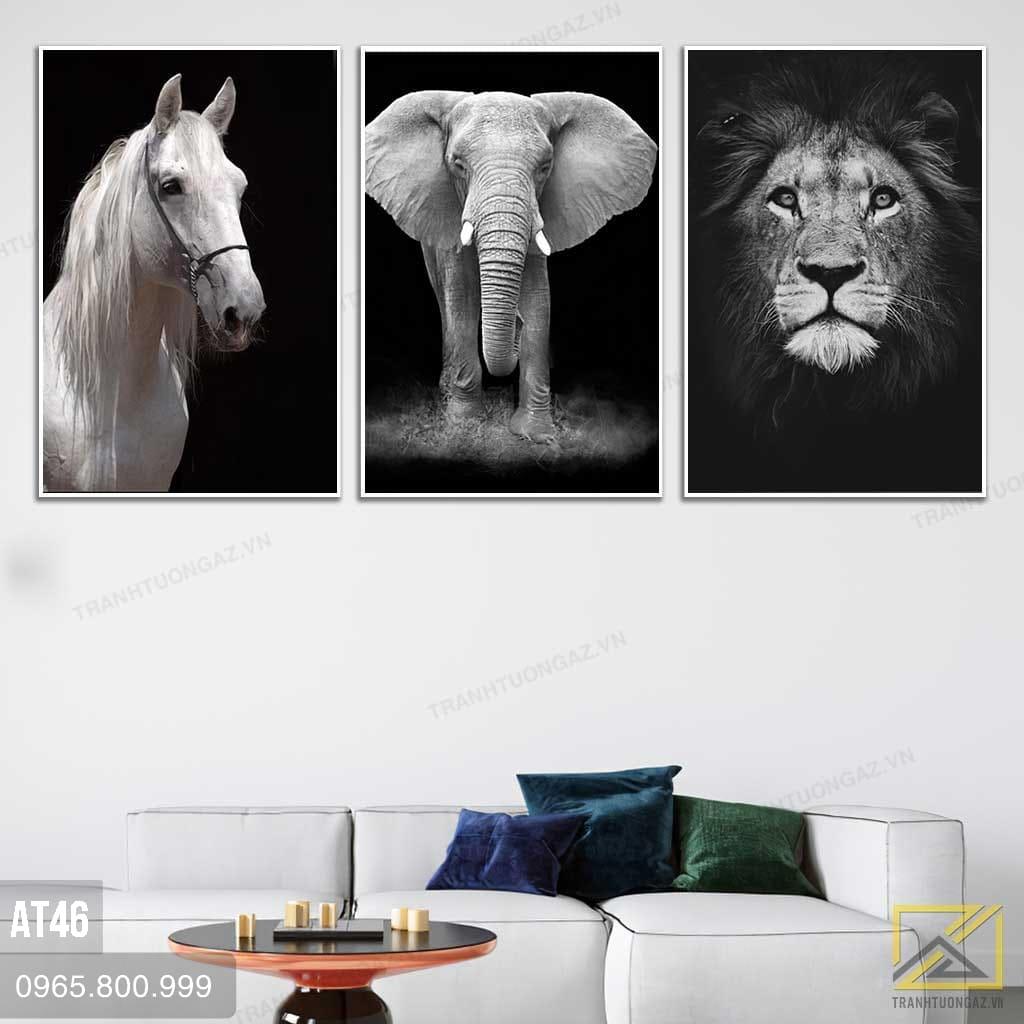 Tranh Bộ 3 Ngựa Voi Và Sư Tử - AT46 1