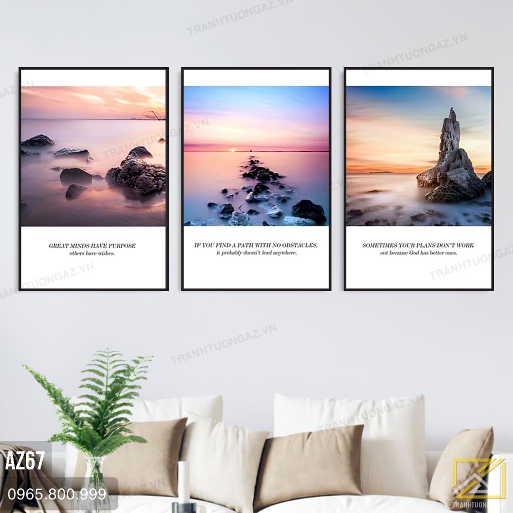 Tranh Bộ 3 Phong Cảnh Đá Trên Biển Nghệ Thuật - AZ67 3
