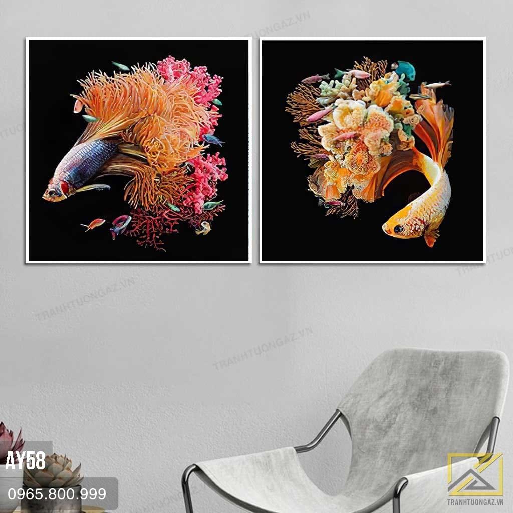 Tranh Bộ 2 Cá Hoa Nghệ Thuật - AY58 1